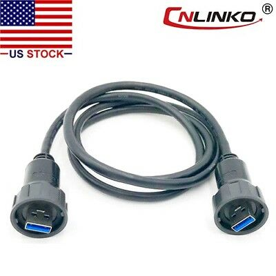 "USB 3.0 Type A Connector Dual Male Plug w/40"" Cable Waterproof IP67 Data + Power"