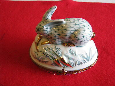 Authentic Limoges Hand Painted Porcelain Rabbit with Carrots Turnip Trinket Box