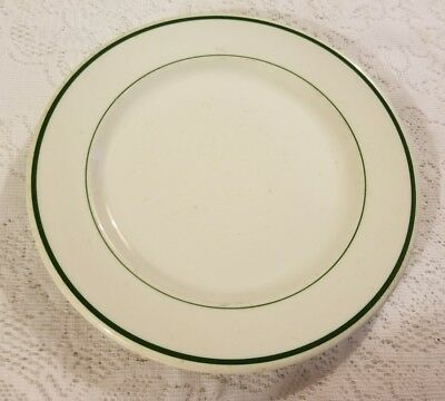 Walker China White with Green Trim Dinner Plate Diner Ware Bedford Ohio