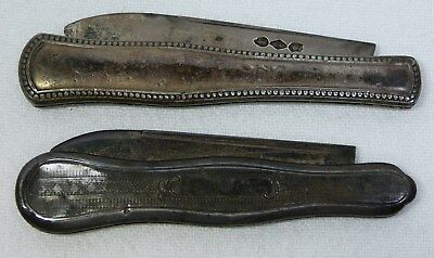 Lot of Two Rough Antique Coin Silver Folding Pocket Knives Vintage