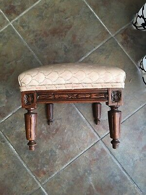 Antique French Country Louis XVI Foot Stool Ottoman Petite Carved Walnut Must Se
