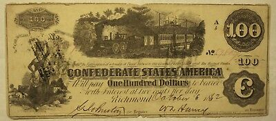 100 Dollars Confederate States Note, October 6, 1862.