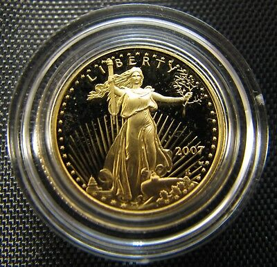 2007-W $5 Gold American Eagle Gem Proof 1/10 oz Gold Coin With Box and COA