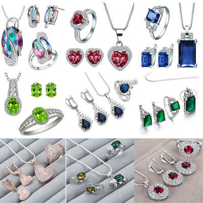 925 Silver Filled Crystal Zircon Ring Earrings Necklace Party Xmas Jewelry Set