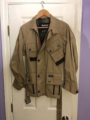 Barbour X Deus Ex Machina Washed Geelong Brown Small NWOT Jacket Coat W/Belt