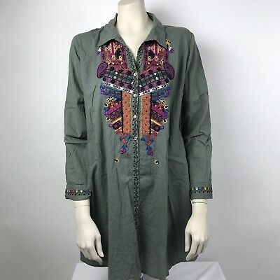 Sevya Handmade Embroidered Womens Long Tunic Green 100% Cotton Long Sleeve