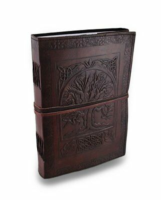 """Large 10"""" Embossed Leather Journal Celtic Tree Of Life blank travel diary"""