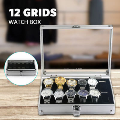 12 Grids Aluminium Watches Box Display Case Watch Jewelry Storatge Hold