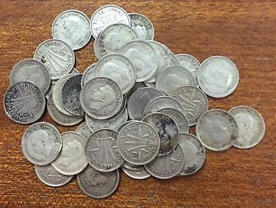 Australia pre 46 three pence bulk lot of 50 - mixed condition ...