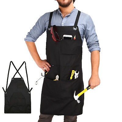 Durable Goods Heavy Duty Waxed Canvas Work Apron / Shop/ Craft With Tool Pockets