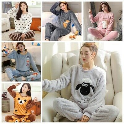 Women Ladies Warm Fleece Winter PJ Pyjama Set Night Wear PJ's Pyjamas Sets New