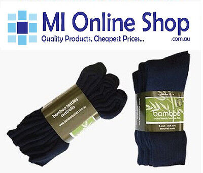 3 Pack EXTRA THICK 92% BAMBOO WORK SOCKS - BLACK or NAVY BAMBOO TEXTILES