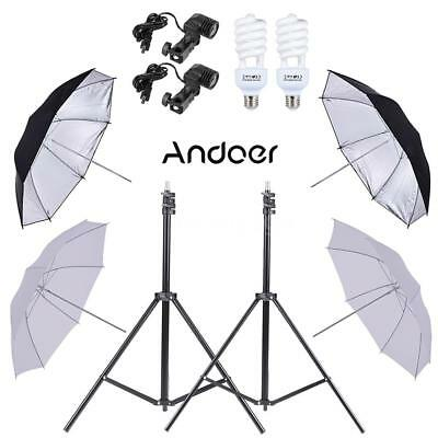 Photo Studio Video Light Continuous Lighting Reflector Umbrella Stand Kit A3A4