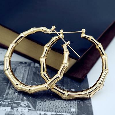 Jewelry Big Hoop Large Vintage Punk Gold Bamboo Round Circle Earrings
