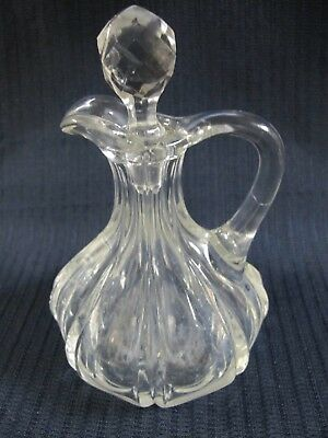 """Antique Crystal Early Brilliant Glass  6"""" Cruet With Faceted Stopper"""