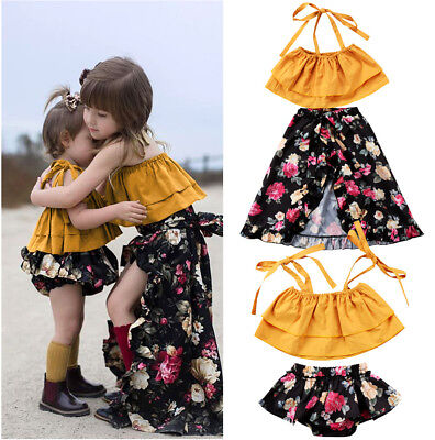 US Stock Toddler Baby Kids Girls Sisters Floral Tops Shorts Dress Outfits Set