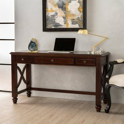 Cherry Desk Console Table Solid Rubber Wood Home Office Study Workstation Sturdy