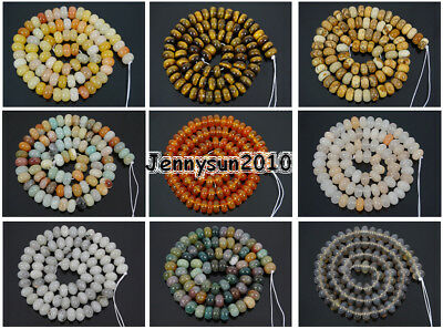 Natural Gemstones Rondelle Spacer Loose Beads 15.5'' 6mm 8mm