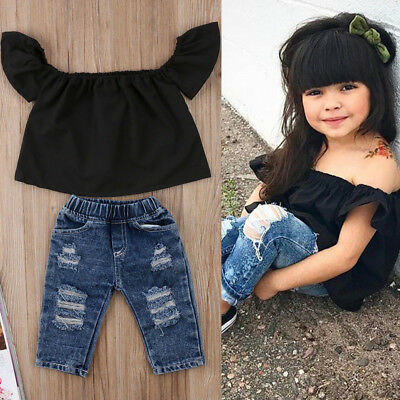 USA Toddler Kids Baby Girls Off Shoulder Tops Denim Jeans Pants Outfits Clothes