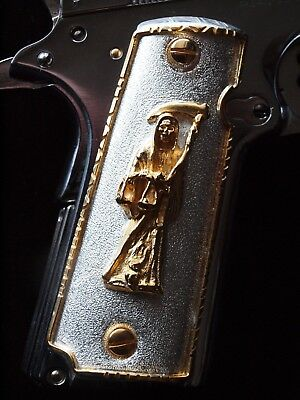 1911-Cachas-38-Super Pistol-Grips-Colt-Government-24K-Gold-Plated-Free-Screws