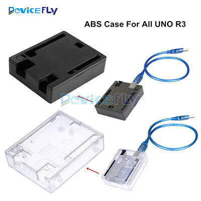 Black/Transparent ABS Case Shell Enclosure For Arduino UNO R3 Clear Box Screw