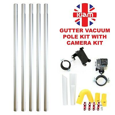 20ft 6m Gutter Vacuum Pole Kit Set Drain Hoover Cleaning & 4K Inspection Camera