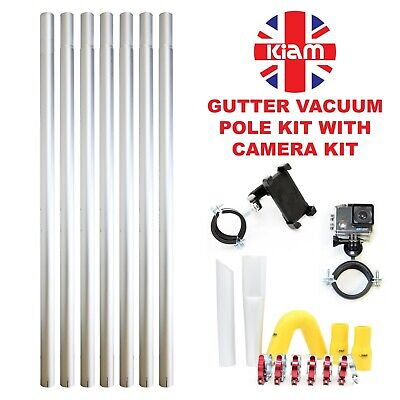 28ft 8.4m Gutter Vacuum Pole Kit Drain Hoover Cleaning & 4K Inspection Camera