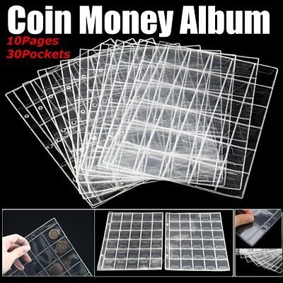 10 Pages 30 Pockets Collection Album Storage Money Penny Collecting Album Case