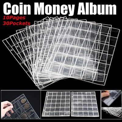 10 x 30 Pockets Coin Holders Folder Pages Sheets For Collection Album Storage