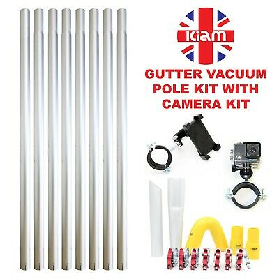 32ft 9.6m Gutter Vacuum Pole Kit Drain Hoover Cleaning & 4K Inspection Camera