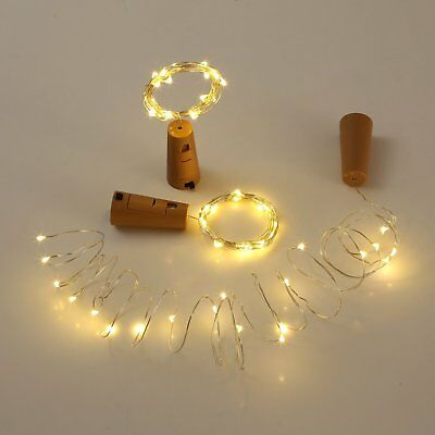 20LED Copper Wire Wine Bottle Cork Battery Operated Micro Fairy String Light Dec