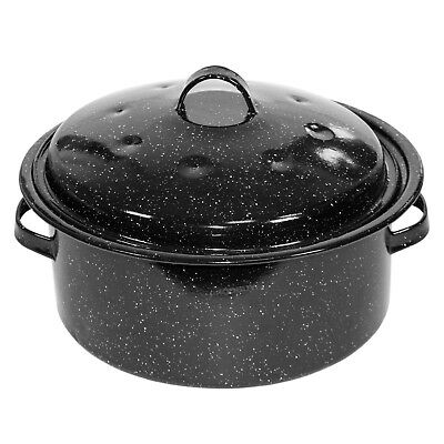 4.5L Round Enamel Roaster Tin With Lid Oven Baking Roasting Tray Dish Cooking