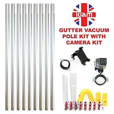 36ft 10.8m Gutter Vacuum Pole Kit Drain Hoover Cleaning & 4K Inspection Camera