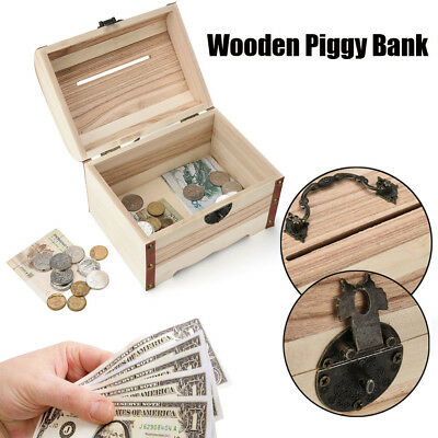 DIY HOT Wooden Piggy Bank Safe Money Box Savings With Lock Wood Carving Handmade