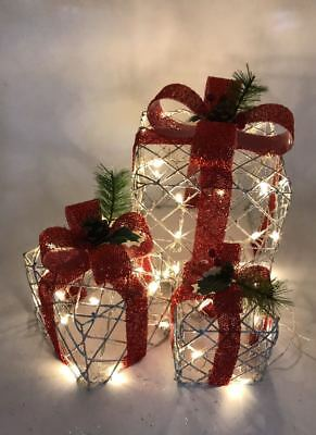 Christmas Gift Light Boxes 3 Presents LED Xmas Indoor Decoration 48Leds Red US