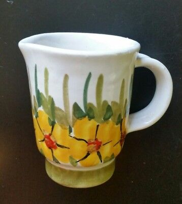 Vintage hand-made hand-painted small pitcher creamer ITALY ceramic pottery