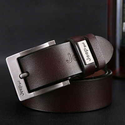 Genuine Cow Leather Men's Belt Casual Waistband Waist Strap Smooth Pin Buckle