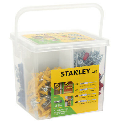 Stanley 250 Heavy Duty Anchor Wall Plug Bucket Set Plastic Fixing Screws 5-8mm