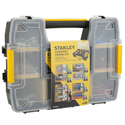 Stanley 10 Compartment Assorted Screws & Fixings Kit Stackable Box 200 Piece Set