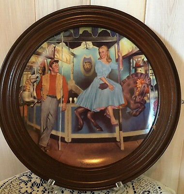 """""""The Carousel Waltz"""" Knowles Carousel Collector Plate by Dan Brown w/frame-1988"""