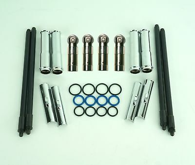 Adjustable Pushrods Tube Covers & O Rings w/ Tappets Lifters Kit Harley EVO Big