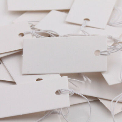100Pcs White BlankPaper Label Price Tags With Elastic String Craft Engaging