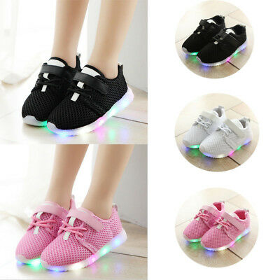 Boys Girls Lighting Shoes Flash LED Baby Toddler Running Sneakers Light Weight
