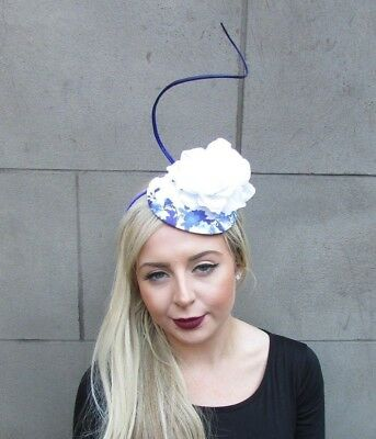 White Royal Blue Feather Flower Fascinator Pillbox Hat Races Cocktail Ascot 4833