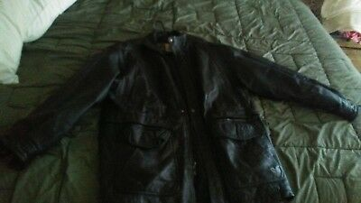 Vintage Men's Brown Leather Jacket Size Large from IOU Double Closure Zip