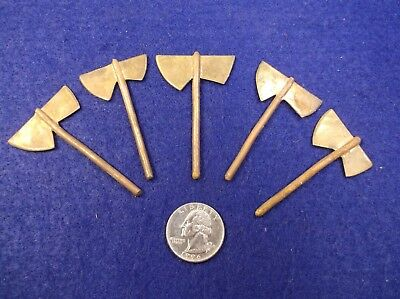 #1, Lot Of 5 Nos Vtg Solid Copper & Brass Miniature Double Headed Axes, Hatchets