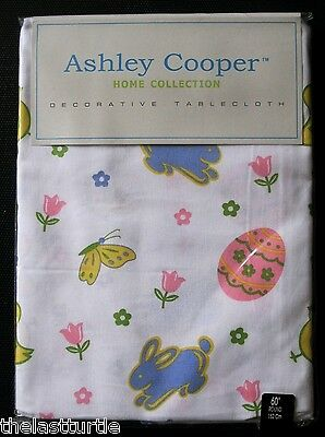 EASTER BLOOM Cotton Tablecloth Eggs Chicks Bunnies Butterfly Tulips Flowers NIP