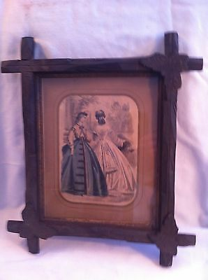 Antique Vtg Black Forest Wood leaf corner Picture Frame Ad 1800s Victorian dress