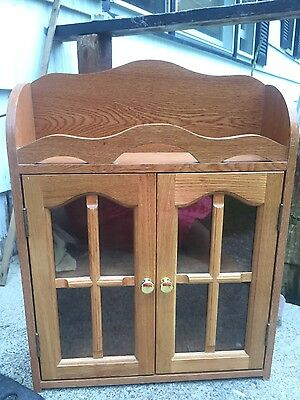 Vintage Wooden Heavy Curio Cabinet  Two Glass Doors