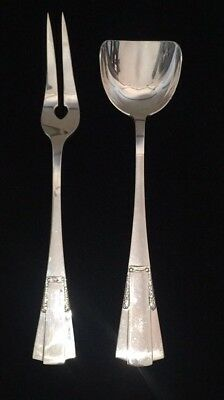 Vintage Art Deco Austrian Sterling Silver Servers Two Prong Fork Spoon C 1930
